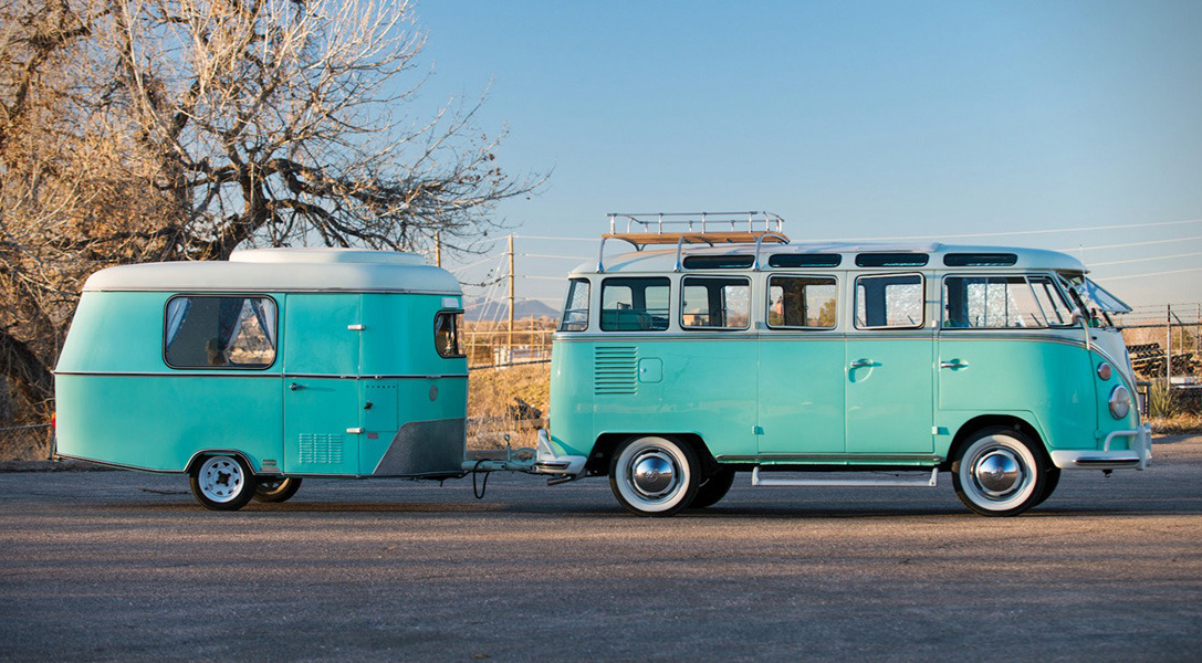 Volkswagen 23-Window Microbus with Camping Trailer