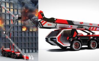 """Firetruck with """"Life Slide"""" – An Expandable Slide to Save Lives"""